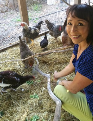 Miyoko Schinner with her rescued chickens